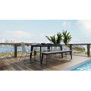 Amsterdam Gray Concrete 79-Inch Outdoor Dining Table