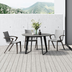 Amsterdam Gray Concrete 47-Inch Outdoor Round Dining Table