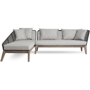 Netta Feather Gray Fabric Outdoor Sectional Left-Facing Sofa