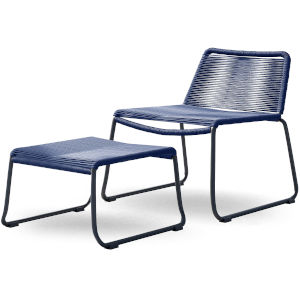 Barclay Blue Cord Outdoor Lounge Chair