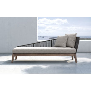 Netta Feather Gray Fabric Outdoor Left Chaise