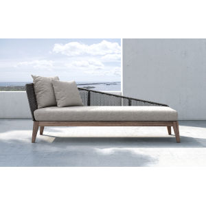 Netta Feather Gray Fabric Outdoor Right Chaise