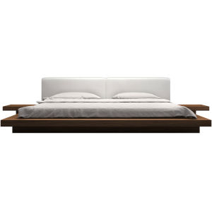 Worth White Eco Leather and Walnut Queen Bed