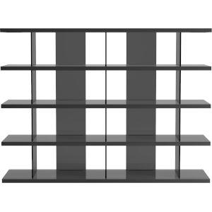 Beekman Glossy Dark Gull Gray Bookcase