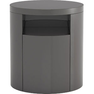 Mulberry Glossy Dark Gull Gray Nightstand