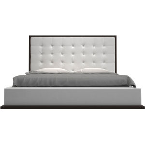 Ludlow White Eco Leather and Wenge King Bed