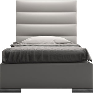Prince Pearl Gray Eco Leather Twin Bed