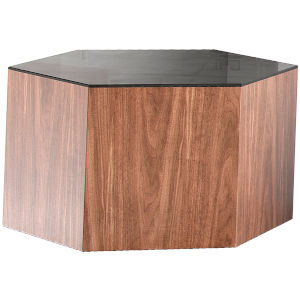 Centre Walnut and Black Glass 10-Inch Coffee Table