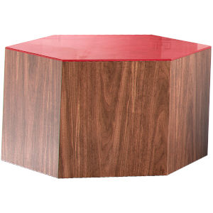 Centre Walnut and Chili Pepper Glass Coffee Table