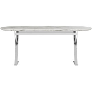Irving White Marble 75-Inch Dining Table