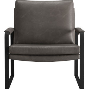 Charles Gunmetal Vintage Leather Lounge Chair