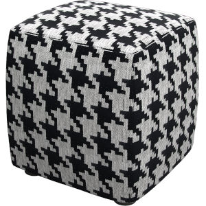 Hester Black White Houndstooth Pouf