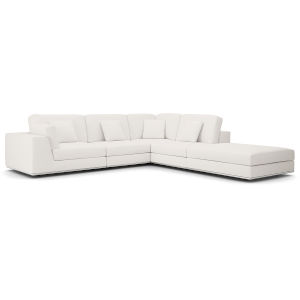 Perry Chalk Fabric One Arm Open Left-Facing Corner Sofa