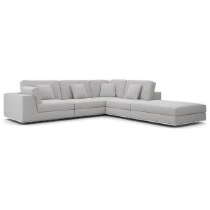 Perry Gris Fabric One Arm Open Left-Facing Corner Sofa