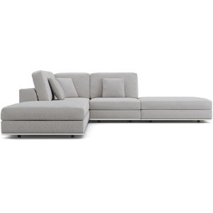Perry Gris Fabric Sectional Armless Corner Sofa