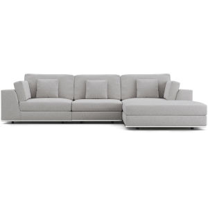 Perry Gris Fabric Sectional Three Seat Sofa with Ottoman