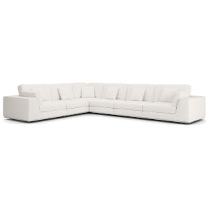 Perry Chalk Fabric Sectional Large Two Arm Corner Sofa