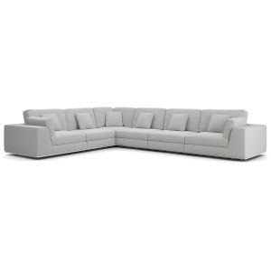 Perry Gris Fabric Sectional Large Two Arm Corner Sofa
