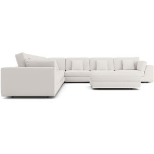 Perry Chalk Fabric Sectional Large Two Arm Corner Sofa with Ottoman