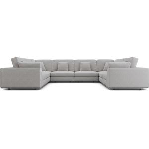 Perry Gris Fabric Sectional U-Sofa