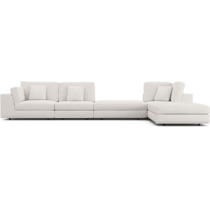 Perry Chalk Fabric Sectional Large One Arm Right-Facing Corner Sofa with Ottoman