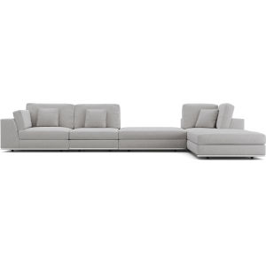 Perry Gris Fabric Sectional Large One Arm Right-Facing Corner Sofa with Ottoman