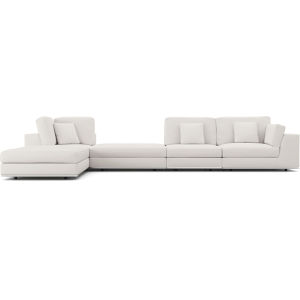 Perry Chalk Fabric Sectional Large One Arm Left-Facing Corner Sofa with Ottoman