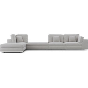 Perry Gris Fabric Sectional Large One Arm Left-Facing Corner Sofa with Ottoman