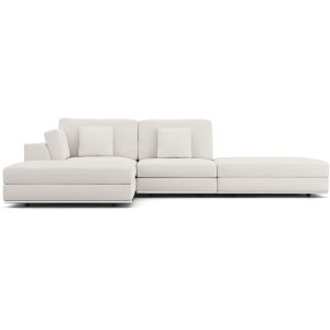 Perry Chalk Fabric Sectional Open Sofa With Ottoman