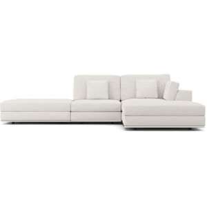 Perry Chalk Fabric Sectional Sofa With Ottoman