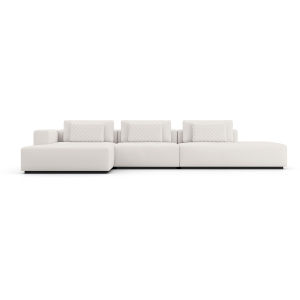 Spruce Chalk Fabric Left Sectional Chaise and End Unit
