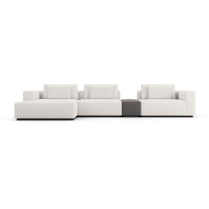 Spruce Chalk Fabric Left Sectional Sofa with Chaise and Armrest