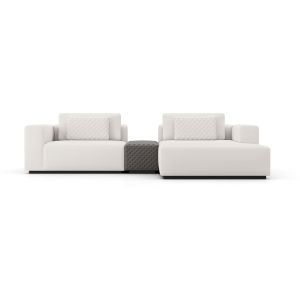 Spruce Chalk Fabric Right-Facing Mini Sectional Sofa with Armrest