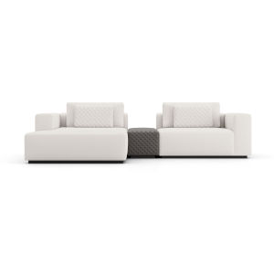 Spruce Chalk Fabric Left-Facing Mini Sectional Sofa with Armrest
