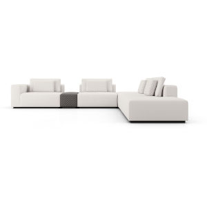Spruce Chalk Fabric Sectional Right Arm Sofa with End Unit