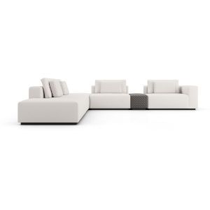 Spruce Chalk Fabric Sectional Left Arm Sofa with End Unit