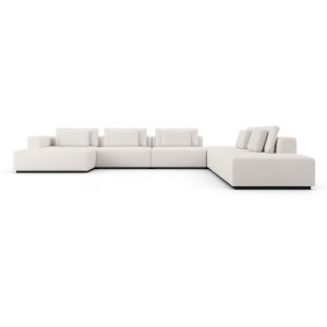 Spruce Chalk Fabric Right-Facing Sectional C-Sofa with End Unit