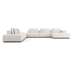 Spruce Chalk Fabric Left-Facing Sectional C-Sofa with End Unit