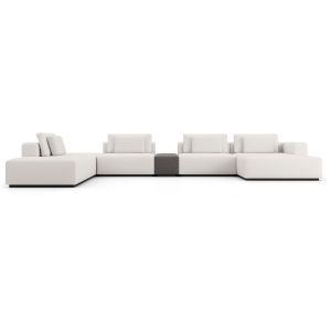 Spruce Chalk Fabric Left Sectional Sofa with End Unit and Chaise