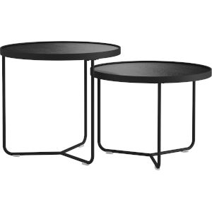 Adelphi Black Crocco Reclaimed Leather Nesting Table