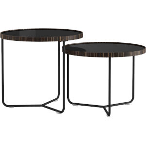 Adelphi Black Glass Nesting Table