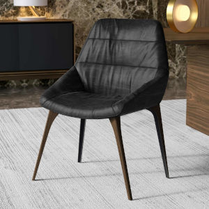 Rutgers Aged Onyx Leather Dining Chair