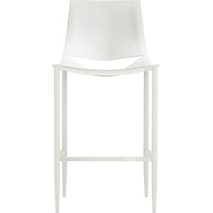 Sloane Alpine Leather and Glossy White Bar Stool
