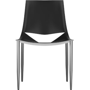 Sloane Black Leather and Carbon Steel Dining Chair
