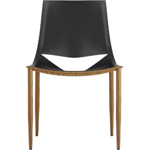 Sloane Black Leather and Teak Dining Chair