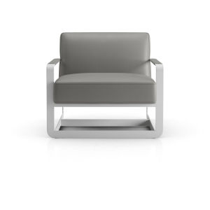 Crosby Warm Gray Leather Lounge Chair