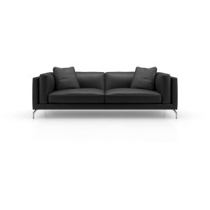 Reade Black Leather Sofa