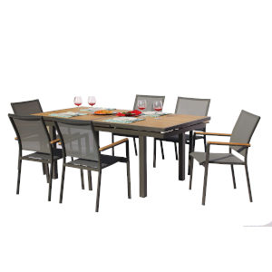 Essence Lava and Pewter Outdoor Dining Set, 7-Piece