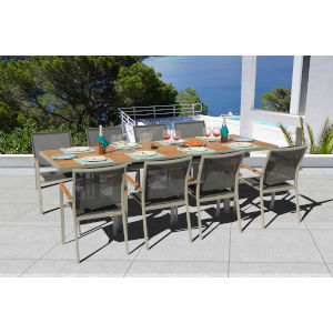 Essence Seagull and Pewter Outdoor Dining Set, 9-Piece
