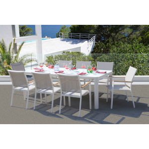 Essence White and Mouse Grey Outdoor Dining Set, 9-Piece